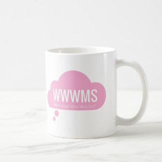¿WWWMS? Lema rosado de la nube DBT del pensamiento Taza De Café