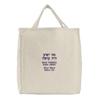 ¿WWYD? en tote hebreo Bolsa De Mano Bordada