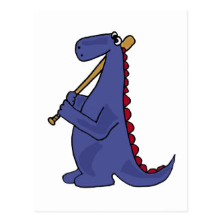 WX- Blue Dinosaur Playing Baseball Cartoon Postcard