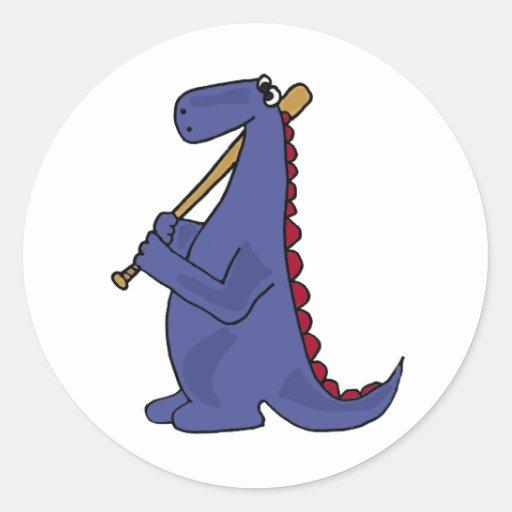 WX- Blue Dinosaur Playing Baseball Cartoon Round Sticker
