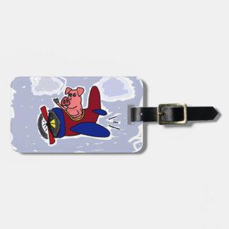 WX- cerdo del vuelo en dibujo animado del Etiqueta Para Maleta