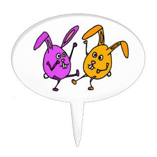 WX- Dancing Bunny Rabbit Egg Cartoon Cake Topper