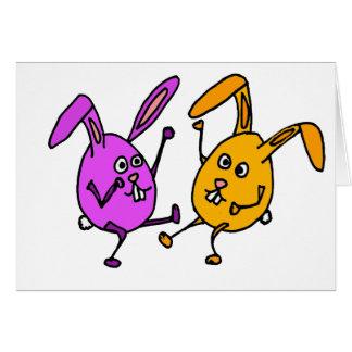 WX- Dancing Bunny Rabbit Egg Cartoon Card