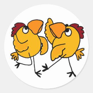 WX- Dancing Chicken Cartoon Classic Round Sticker