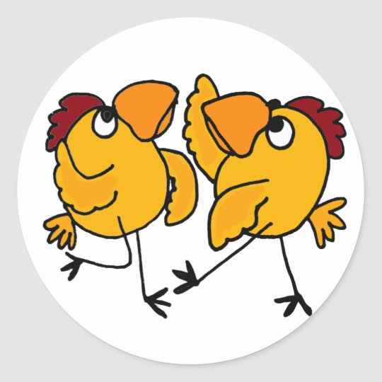 wx dancing chicken cartoon classic round sticker zazzle com