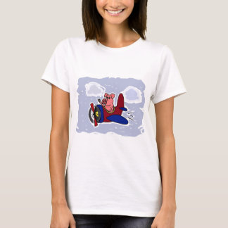 WX- Flying Pig in Airplane Cartoon T-Shirt