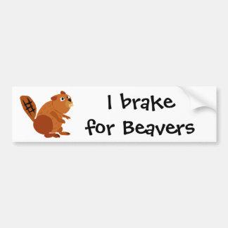 WX- Funny Beaver Primitive Art Bumper Sticker