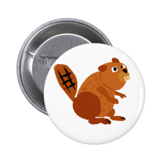 WX- Funny Beaver Primitive Art 2 Inch Round Button