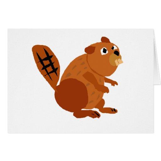 WX- Funny Beaver Primitive Art Greeting Cards