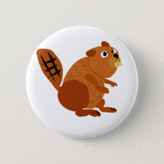 WX- Funny Beaver Primitive Art Pinback Button