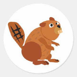 WX- Funny Beaver Primitive Art Stickers