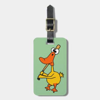 WX- Funny Duck Playing Baseball Cartoon Bag Tag