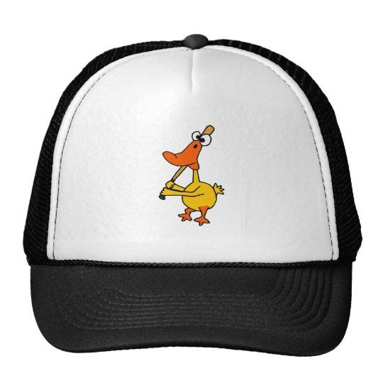 WX- Funny Duck Playing Baseball Cartoon Trucker Hat