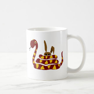 WX- Funny Snake Squeezing Rabbit Cartoon Coffee Mug