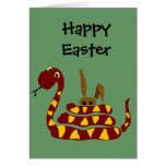WX- Funny Snake Squeezing Rabbit Cartoon Greeting Card