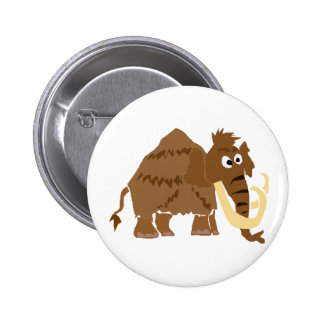 WX- Funny Woolly Mammoth Primitive Art Pinback Button