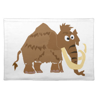 WX- Funny Woolly Mammoth Primitive Art Placemat