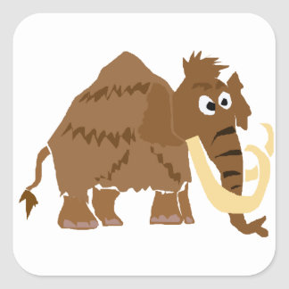 WX- Funny Woolly Mammoth Primitive Art Square Sticker