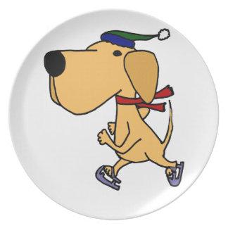 WY- Funny Labrador Dog Ice Skating Dinner Plate