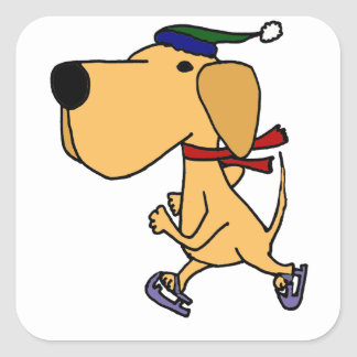 WY- Funny Labrador Dog Ice Skating Square Sticker