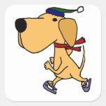 WY- Funny Labrador Dog Ice Skating Sticker