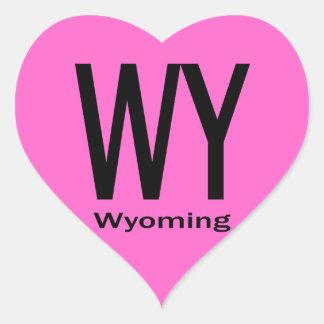 WY Wyoming plain black Heart Sticker