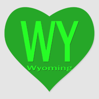 WY Wyoming plain green Heart Sticker