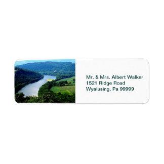 Wyalusing Pa Endless Mountains River Photo Label