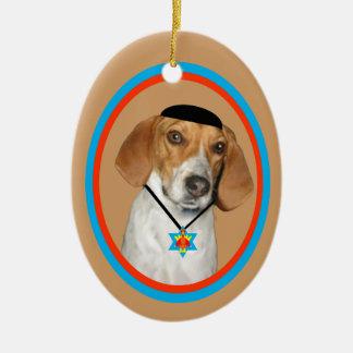 wYamaka divertido del perro de caza del ornamento Adorno Navideño Ovalado De Cerámica