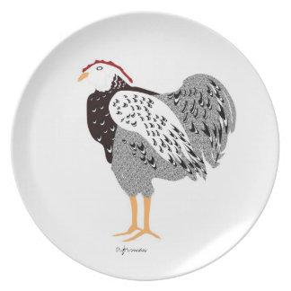 Wyandotte companion hen black&white stylized art P Dinner Plates
