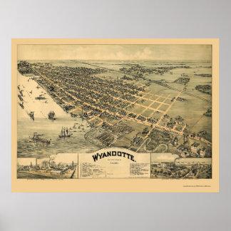 Wyandotte, MI Panoramic Map - 1896 Poster