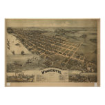 Wyandotte Michigan 1896 Antique Panoramic Map Posters