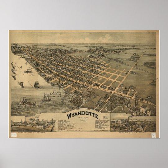 Wyandotte Michigan 1896 Antique Panoramic Map Poster
