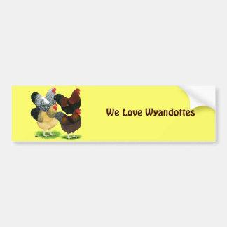 Wyandotte:  Rooster Assortment Bumper Sticker