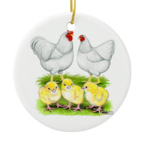 Wyandotte White Chicken Family Ceramic Ornament