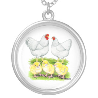 Wyandotte White Chicken Family Custom Necklace
