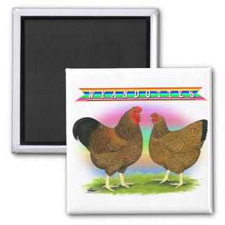 Wyandottes:  Golden-laced Rainbow Refrigerator Magnet