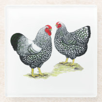 Wyandottes Silver-laced Pair Glass Coaster