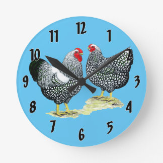 Wyandottes Silver-laced Pair Round Clock