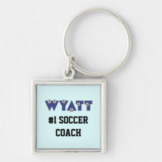 Wyatt en azul del fútbol llavero cuadrado plateado