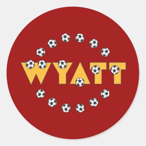 Wyatt en oro del fútbol etiquetas redondas