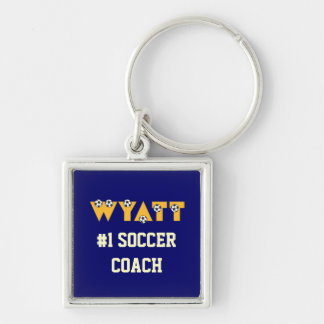 Wyatt en oro del fútbol llavero cuadrado plateado