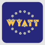 Wyatt en oro del fútbol calcomanías cuadradas personalizadas