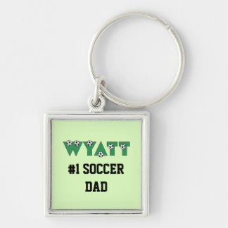 Wyatt en verde del fútbol llavero cuadrado plateado