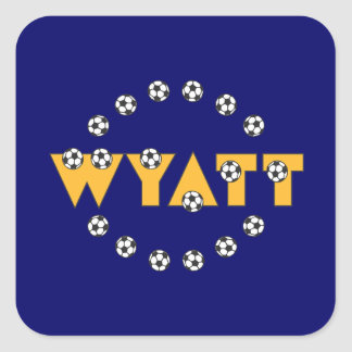 Wyatt in Soccer Gold Square Stickers