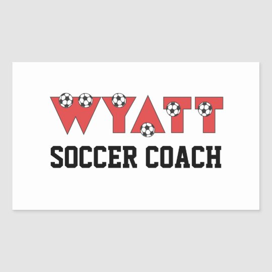 Wyatt in Soccer Red Rectangular Sticker