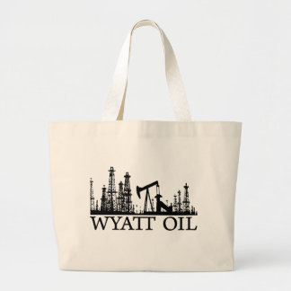 Wyatt Oil / Black Logo Large Tote Bag
