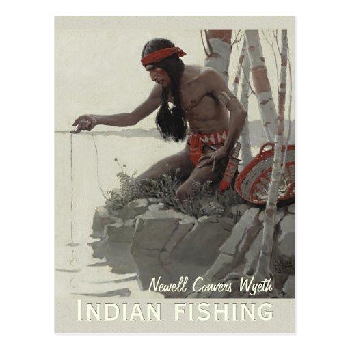 Wyeth Indian fishing CC0480 Postcard