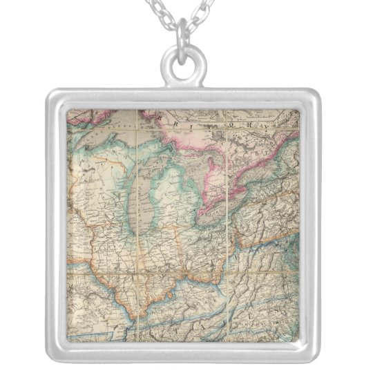 Wyld's Military Map Of The United States Silver Plated Necklace