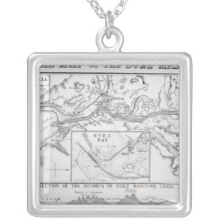 Wyld's Official Map of the Suez Maritime Canal Square Pendant Necklace